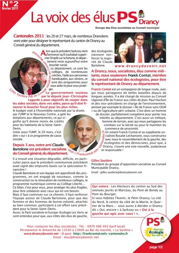 La Voix des élus PS DRancy n°2 - 20 février 2011